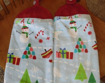 Christmas - Snowmen, Trees & Candy Canes  Knit Top Kitchen Towels