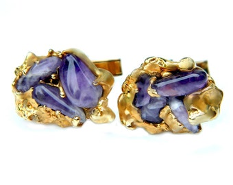 Gold Amethyst Cufflinks Nugget Style 10k Gold Overlay 1940's Vintage Accessory For Men Formal Suit And Tie Wedding Groom Jewelry
