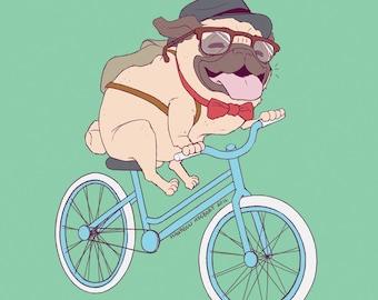 Hipster Pug Print - S