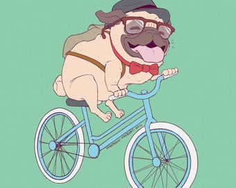 Hipster Pug Print - M