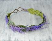Lavender Flower Crown, Flower Halo, Bridal Floral Tiara, Prom, Rustic Wedding, Headpiece, Headband, head wreath, boho bohemian, green purple