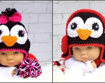 Crochet Penguin hat.Handmade penguin hat.