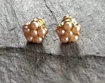 Vintage Pearl cluster stud earrings