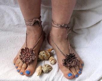 Barefoot sandals/Crochet barefoot sandals/Beach wedding/Bridal Footless shoes/Multicolored Barefoot Sandals