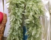 Fluffy light green feather boa