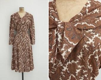 1990s Dress - Vintage 90s Brown Paisley Dress - Nubra Dress