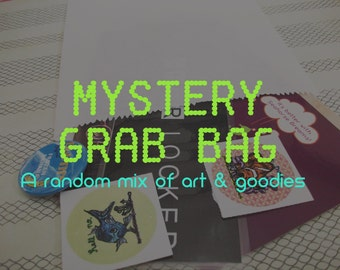 SALE: Mystery Grab Bag- A random mix of art, stickers, buttons and more!