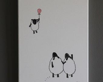 12x16 original canvas art - flying lamb and sheep