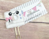 Pink/Blue/Gold/Kawaii Sewing Machine/Felt Applique Paper Clip/Journal Marker/Bookmark/Planner Clip