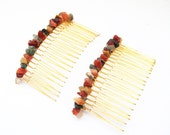 Hair Accessories, Hair Combs, Gold Hair Combs, Multi-Color Gemstones, Wire Wrapped Hair Accessories, Fall Inspired Hair Accessories