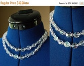 Its a steal 50 Lovely 1950's Crystal Beaded Double Strand Necklace Choker with Metal Hook and Bead Closure, Iridescent Swarovski Crystal, Fr