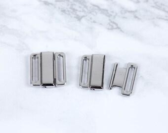 "2 Sets Silver Nickel Free Front Closing Bra / Bikini Hook Closure 1/2"" wide Bra Making Lingerie Sewing  Bramaking"