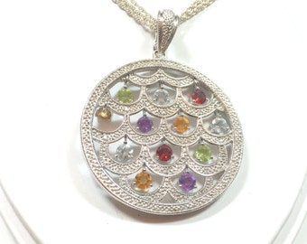 STERLING Silver Multi Gem Round Disc PENDANT NECKLACE - Triple Strand Chain- Hallmarked- Adjustable Clasp- Hanging Gems  Made in Italy