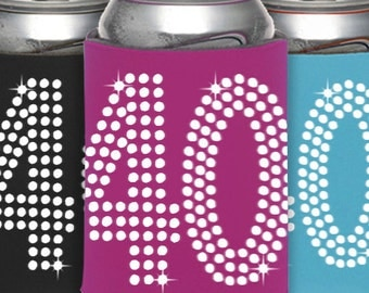40th Birthday Can Cooler Party Favor - 40th Birthday, Birthday Party Favors, Can Cooler ,Birthday Idea, Party Favor, Beverage Holder,