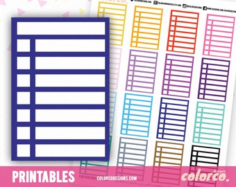 Square Stackable Sidebar Checklists Printable Planner Stickers Erin Condren Happy Planner Inkwell Plum Paper Instant Digital Download