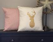 Gold Deer Winter Christmas Pillow Cover