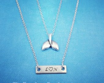 Whale Tail Necklace, Mermaid Tail, Personalized Silver Bar Necklace, Silver Whale Tail, Handstamped Bar Necklace, Nautical, Mermaid, Ocean