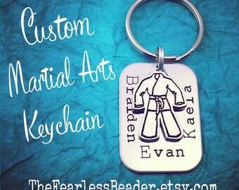 Custom Martial Arts Keychain, Martial Arts Gift, Brazilian Jiu Jitsu, BJJ, MMA Keychain, Karate, Handstamped Keychain, Gift for Dad, MMA