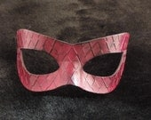 Hand Molded Embossed Oxblood Red Masquerade Cat Eye  Mask