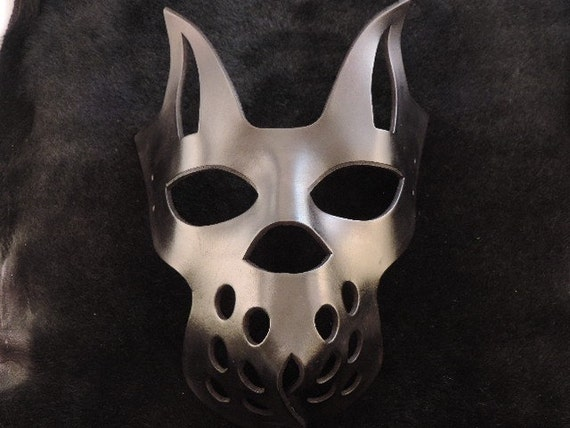 Black Creepy Kitty Muzzle Kitten Leather Mask.