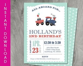 Train Party Invitation, Self Editable, Instant Download, Double Sided, Diy, Party Printable, Baby Boy Shower, Personalized, Digital Pdf File