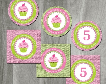 Cupcake Birthday Party, Printable Party Circles, Favor Labels or Cupcake Toppers, Favor Tags, Burlap Texture, Girl Party