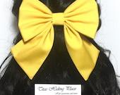 Yellow Bow, Large Hair Bow, Yellow Cheer Bow, Handmade Hair Bow, Cosplay Anime Bow, Bow For Girls, Yellow Big Bow, Kawaii Yellow Bow,