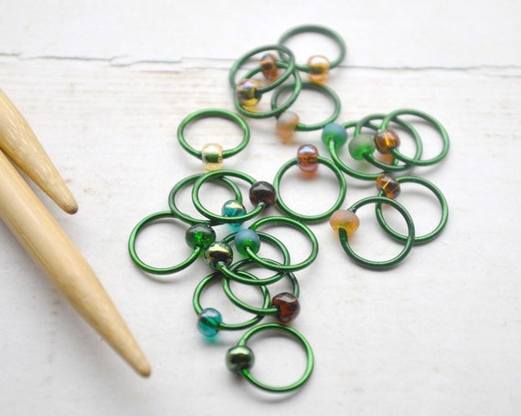 Enchanted Forest / Knitting Stitch Markers - Dangle Free Snag Free Knitting Stitch Markers - Small Medium Large Sizes Available