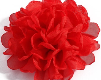 Red Fabric Flower / Hair Flower / Red Fabric Flower / Chiffon Flower  FLW-06  NO CLIPS