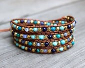 Beaded Leather Wrap Bracelet 4 or 5 Wrap with Turquoise and Blue Gemstone Beads with Gold Nuggets on Genuine Light Brown Leather