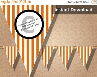 SALE 50% OFF Orange Stripe Halloween Bunting Pennant Banner Instant Download, Party Decorations