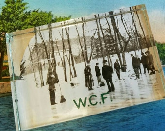 World Curling Federation antique glass paperweight, photo on glass, men with brooms on ice, sports memorabilia, office decor