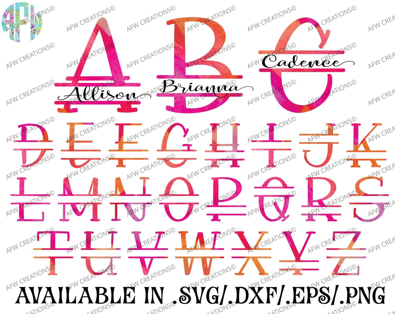 Digital Cut Files Split Letters SVG DXF EPS Block