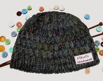 Knit hat - women hat - cloche hat - violet knit hat - blue knit beanie - chunky hat - winter hat - merino wool hat - super warm beanie