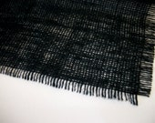 Black Jute Burlap Place Mats Simple Frayed For Wedding Table Decor Singles, Sets of 4, Sets of 5 Ebony Placemats 12X18 Inches