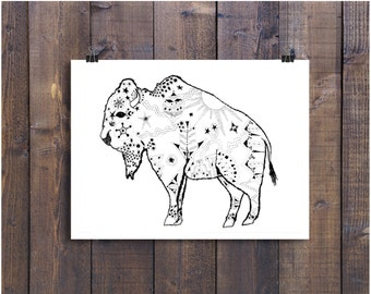 Buffalo Drawing, Bison Art, Wild West Art, Animal Art, Wall Art, Wall Decor, Illustration Print, Drawing, Ink Art, Black and White Art