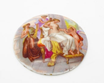 "Antique 3.5"" Diameter Ceramic Plaque after Angelica Kaufmann for display"
