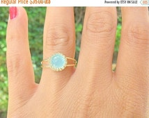Sale - Gold opal ring - gold ring with pacific opal stone - gold ring - stackable ring -  vintage ring - bridal jewelry