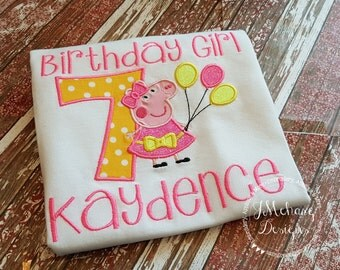 Peppa Pig Birthday Custom Tee Shirt - Customizable -  Infant to Youth 135