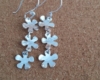 Forget me not dangle earrings, Flower Dangle Jewelry, Silver long Earrings