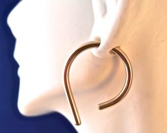 Gold 8 Gauge Hoop Earrings