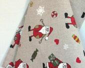 Linen Dish Towels Tea Towels Santa Claus Rudolph Reindeer Christmas Holiday - Tea Towels set of 2