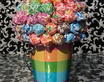 Rainbow Plaid Dum Dum Lollipop Bouquet / Centerpiece