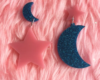 star and moon earrings pink & glitter blue