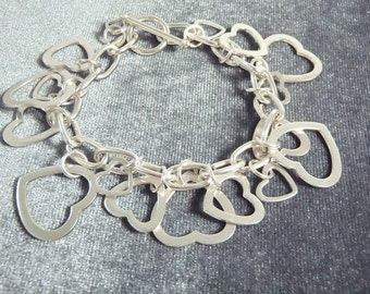 Sterling Silver Multiple Heart Toggle Bracelet B21