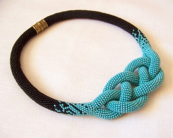 Beaded Crochet Josephine Knot Rope Necklace - Beadwork necklace - turquoise and black necklace - modern necklace - statement bright necklace