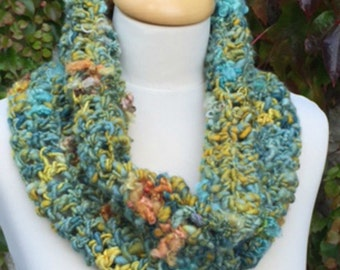 Cowl Hand Spun Crocheted Infinity Scarf in Teal Greens and Mustard