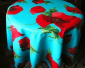 Round tablecloth.58 inches diameter . oilcloth, cotton  coated . Fabric from Provence, France.Poppies in turquoise .