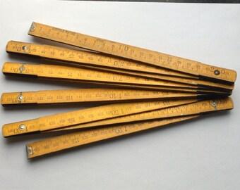 Vintage Industrial Wooden Folding Ruler  2 meters ruler