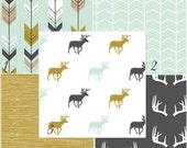 Modern Deer woodland nursery baby bedding DESIGN YOUR OWN mint mustard grey